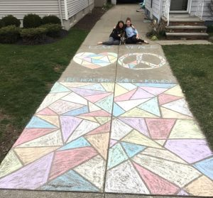 stained glass chalk drawing on driveway